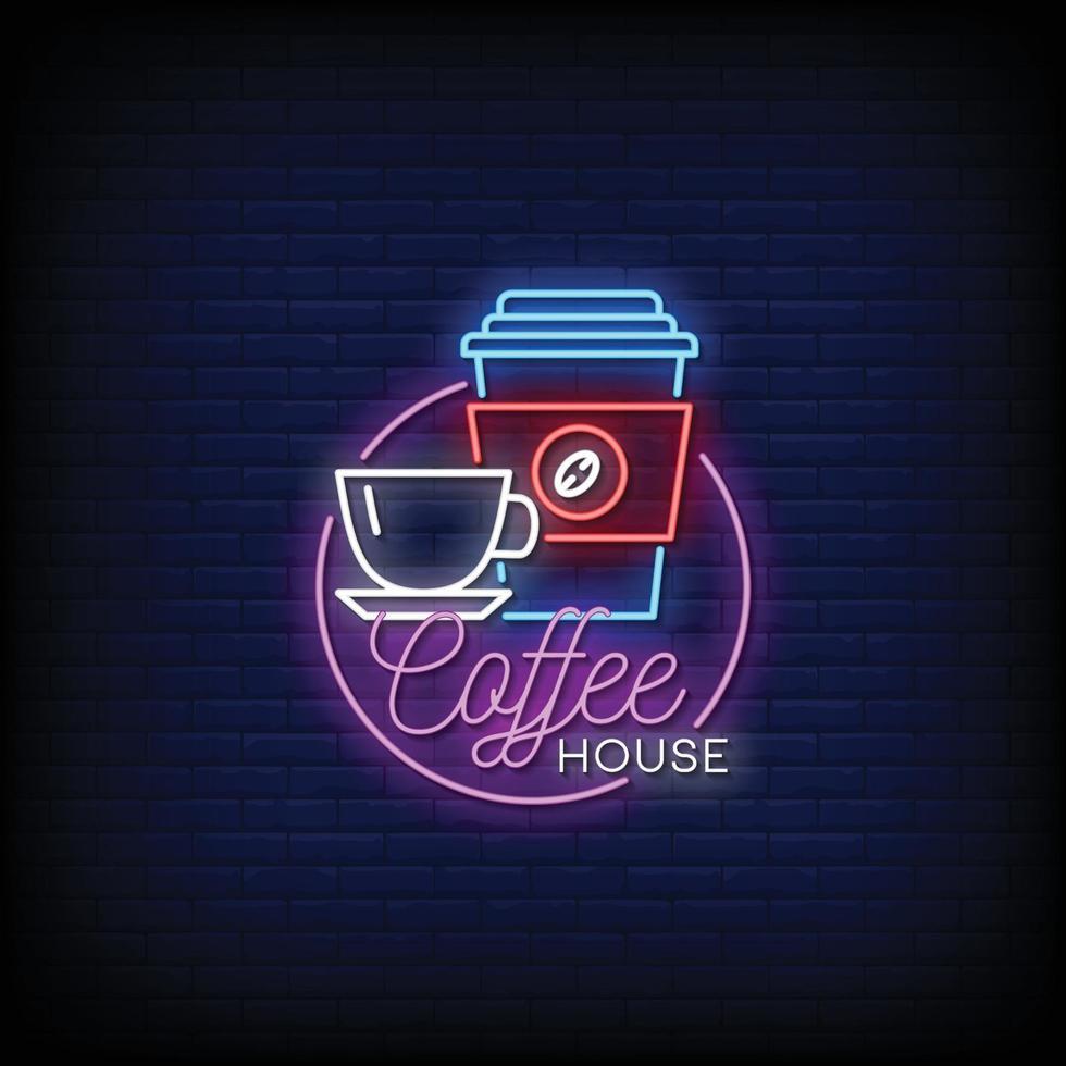 koffiehuis logo neonreclames stijl tekst vector