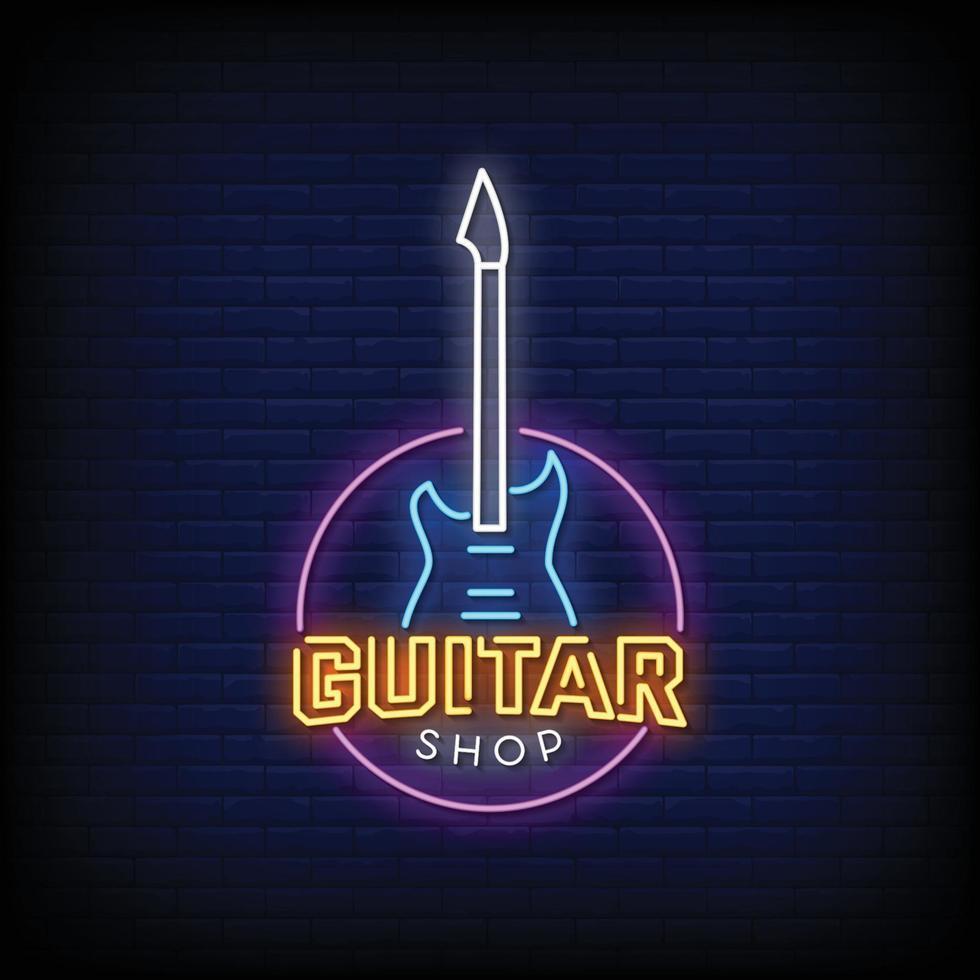 gitaar winkel logo neonreclames stijl tekst vector