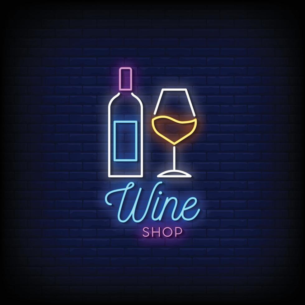 wijnwinkel logo neonreclames stijl tekst vector