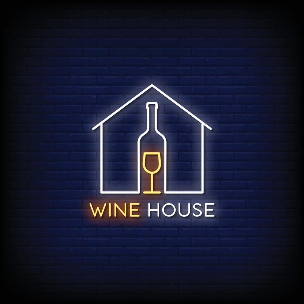 wijnhuis ontwerp neonreclames stijl tekst vector