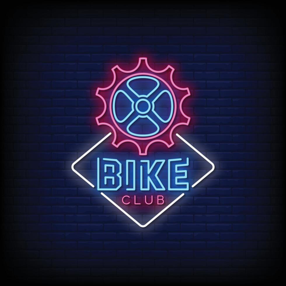 fiets club ontwerp neonreclames stijl tekst vector