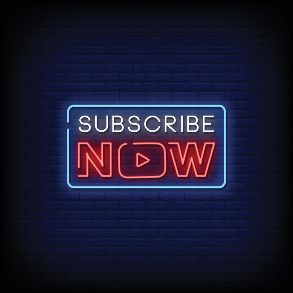 abonneer nu ontwerp neonreclames stijl tekst vector