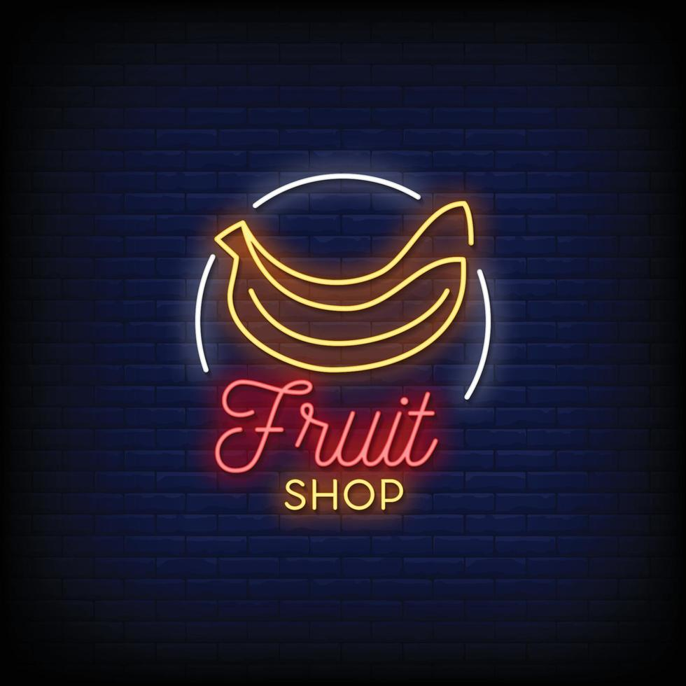 fruitwinkel ontwerp neonreclames stijl tekst vector