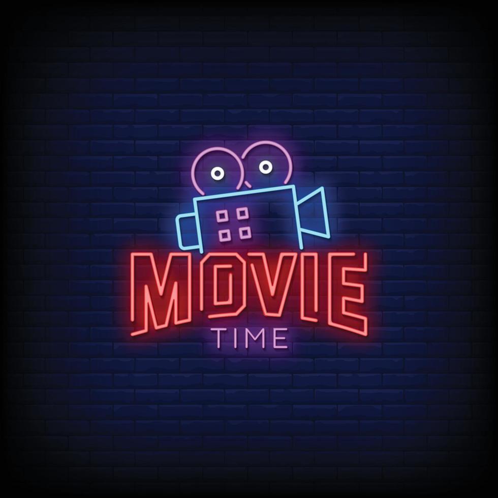 filmtijd ontwerp neonreclames stijl tekst vector