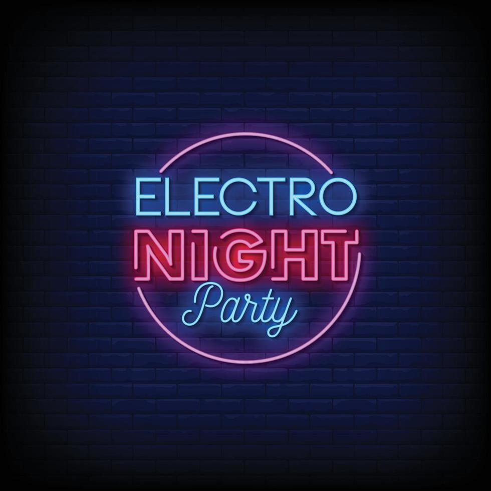 electro night party design neonreclames stijl tekst vector