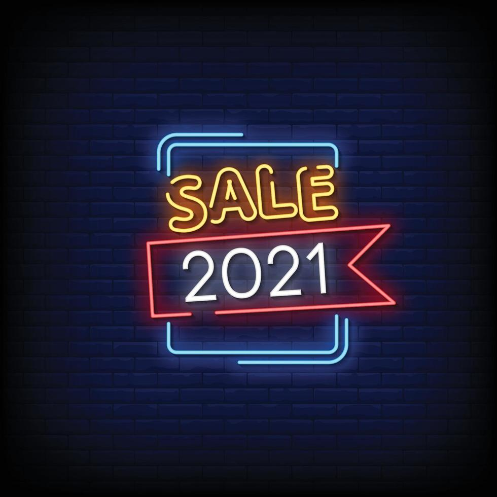 verkoop 2021 ontwerp neonreclames stijl tekst vector