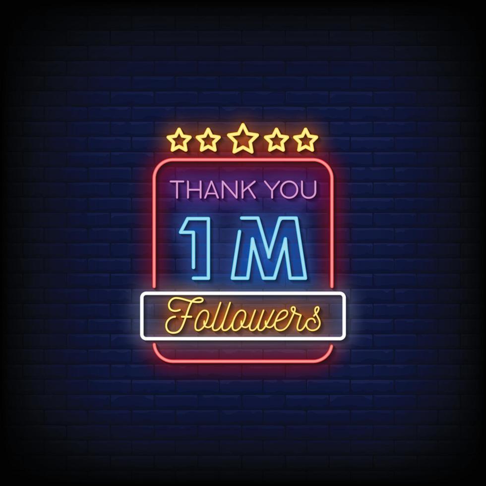 bedankt 1 miljoen volgers ontwerpen neonreclamestijl tekst vector