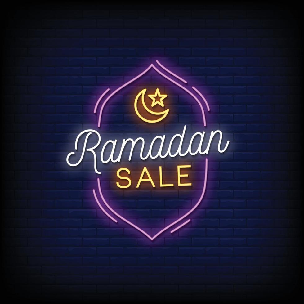 ramadan verkoop ontwerp neonreclames stijl tekst vector