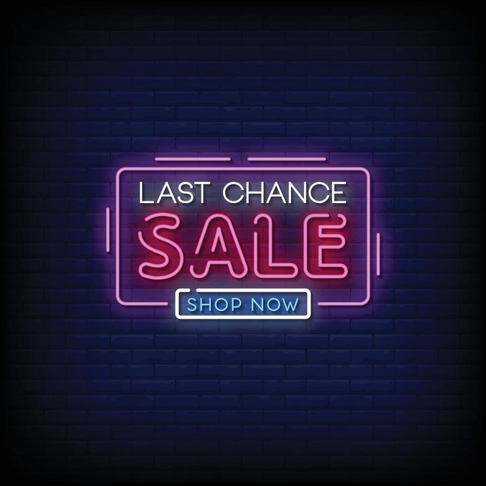 laatste kans verkoop ontwerp neonreclames stijl tekst vector