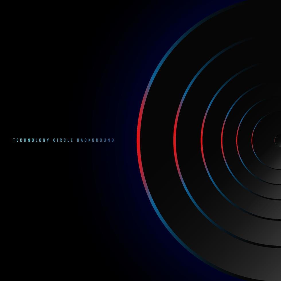 abstracte blauwe en rode neon gloeiende cirkels op zwart achtergrondtechnologie futuristisch concept. vector