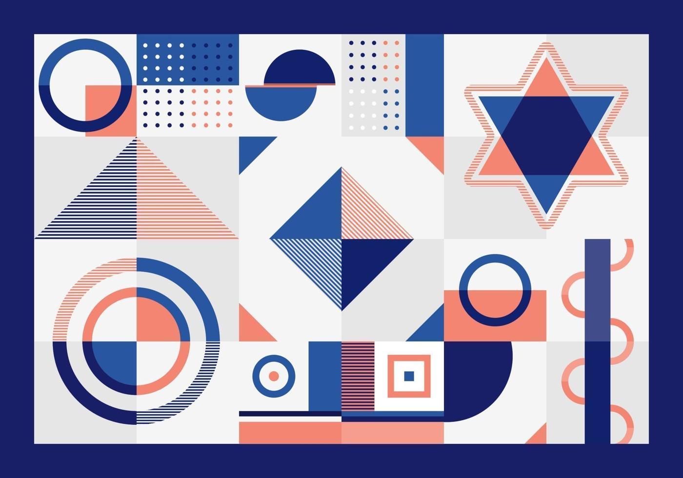 abstract blauw en oranje geometrisch patroonrechthoeken, driehoek, vierkanten en cirkelsvormontwerp op witte achtergrond. vector