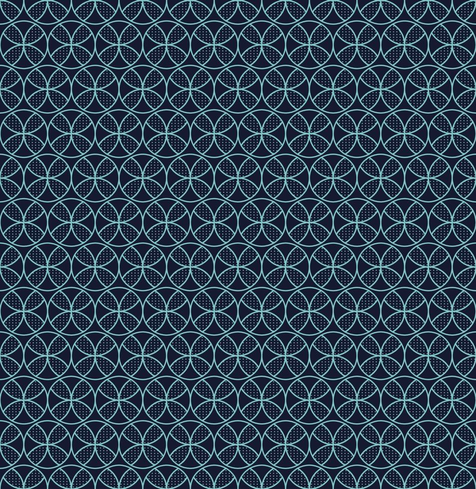 naadloze patroon blauwe cirkels geometrische bloem op donkere achtergrond vector