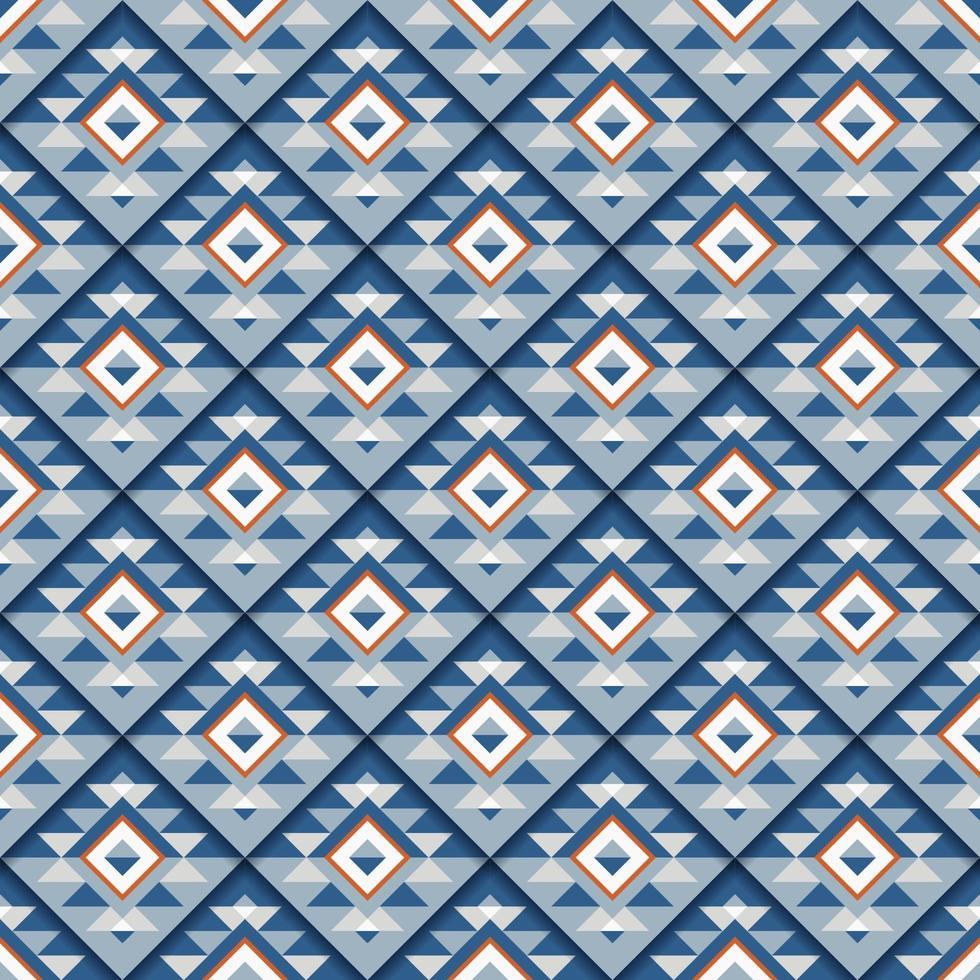 naadloos geometrisch blauw vierkant patroon met schaduw vector