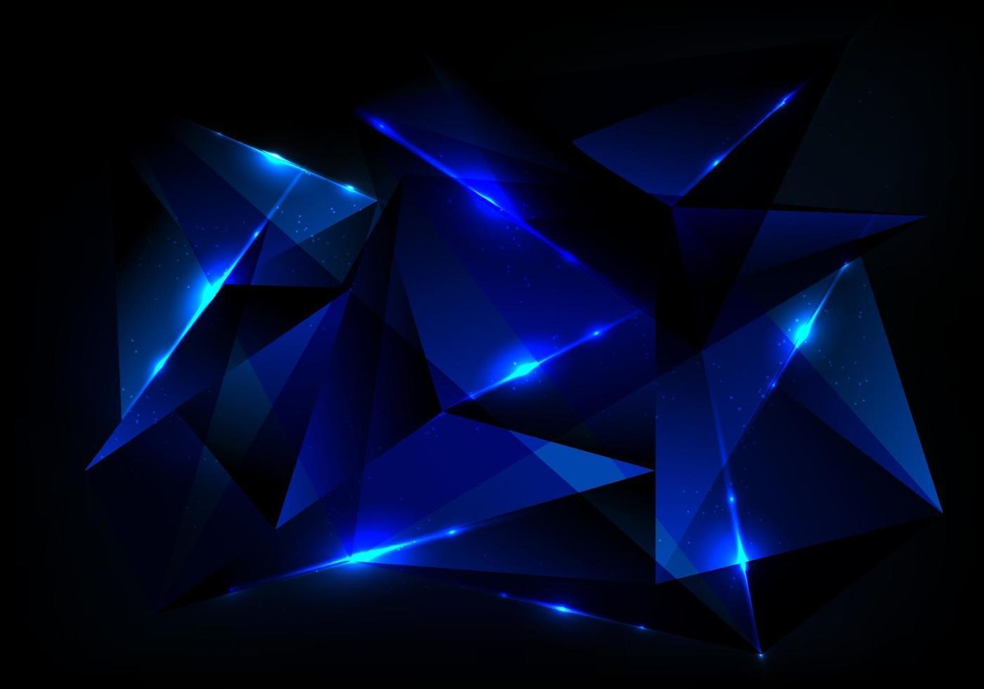abstract futuristisch technologieconcept met blauw veelhoekig patroon en gloedverlichting op donkerblauwe achtergrond vector