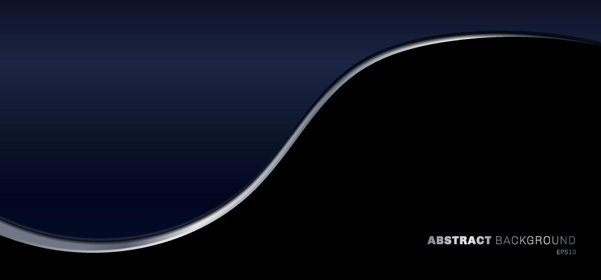 banner websjabloon blauwe kleurovergang gebogen met zilveren lijn op zwarte achtergrond vector