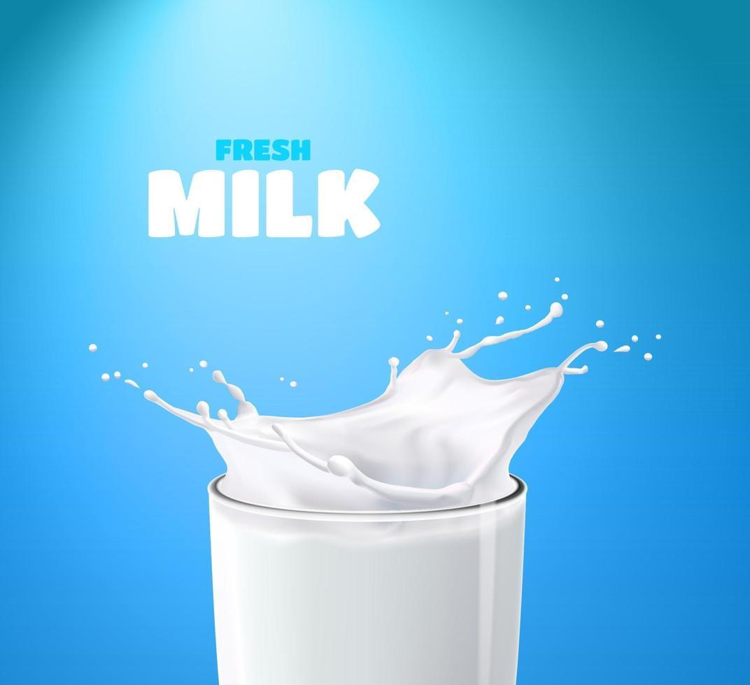 realistische transparant glas melk spatten op een blauwe achtergrond vector