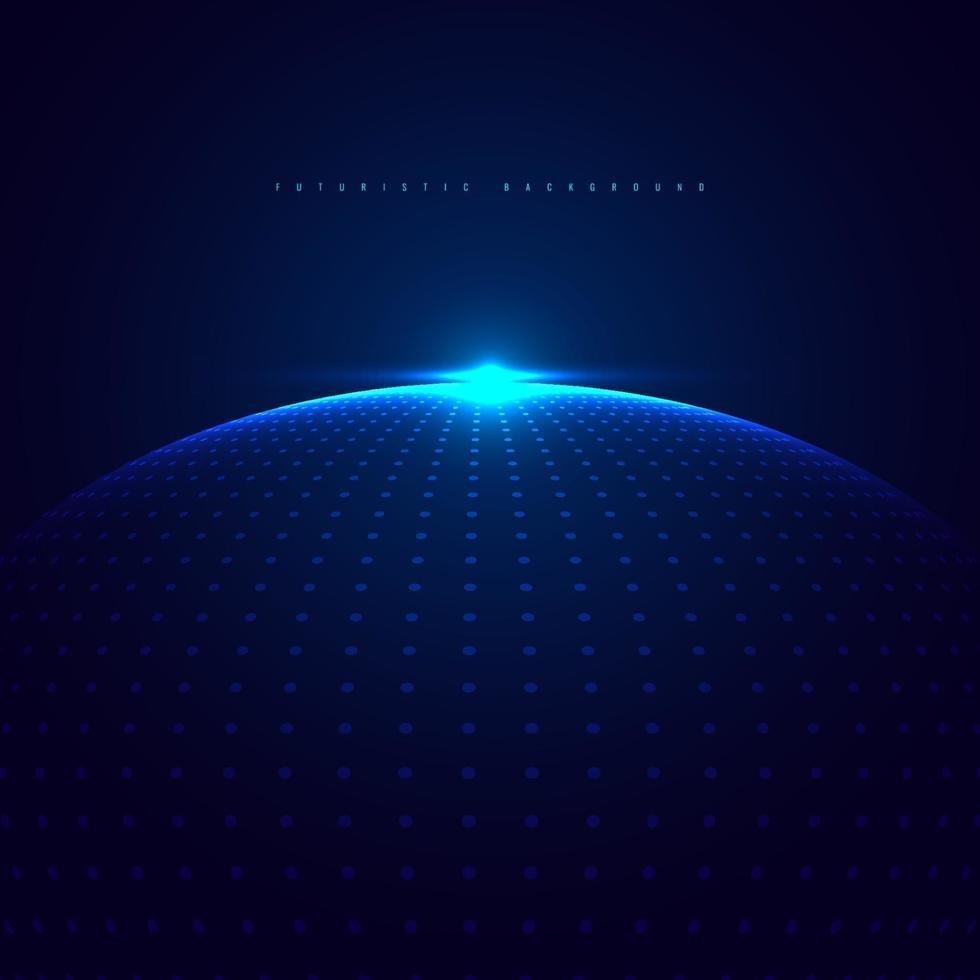 abstracte 3d blauwe gloeiende bol van stippendeeltjes met verlichting op donkerblauw achtergrondtechnologie futuristisch concept. vector