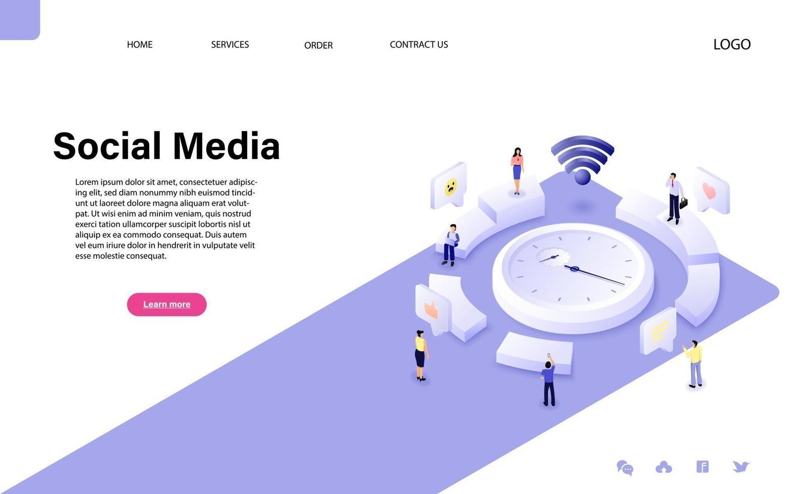 social media concept met karakter voor website-bestemmingspagina en mobiele sjabloon vector