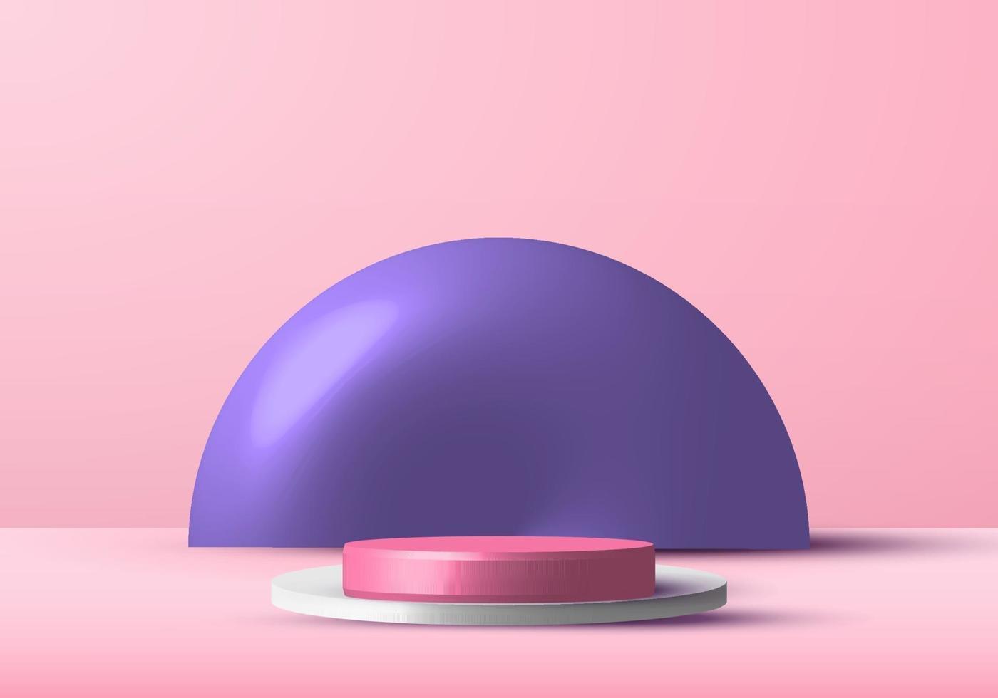 3d-realistische roze en witte rendering podium studio podium voor vitrine met paarse cirkel achtergrond. vector