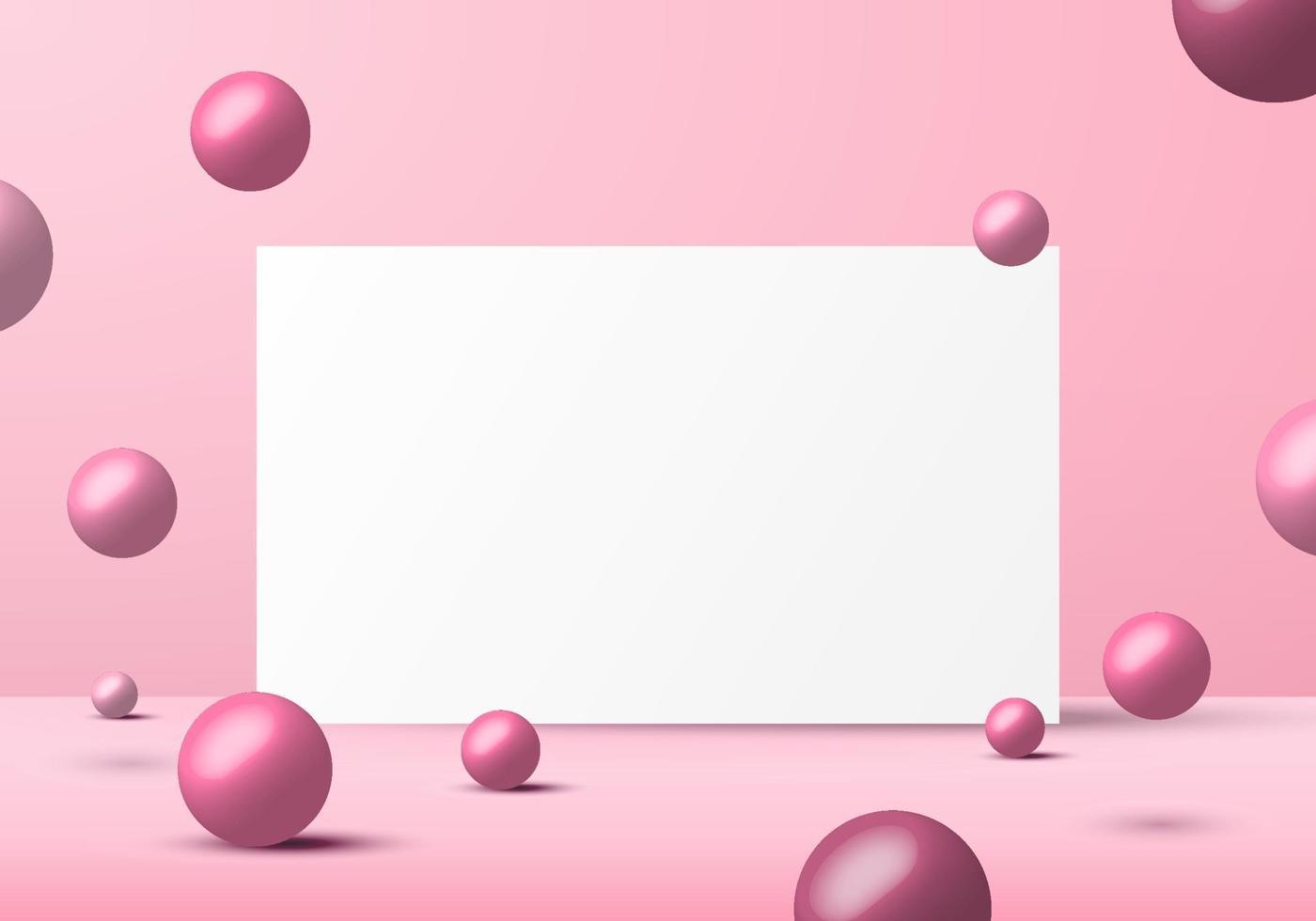 3d-realistische roze ballen bollen vormen met witte achtergrond achtergrond vector