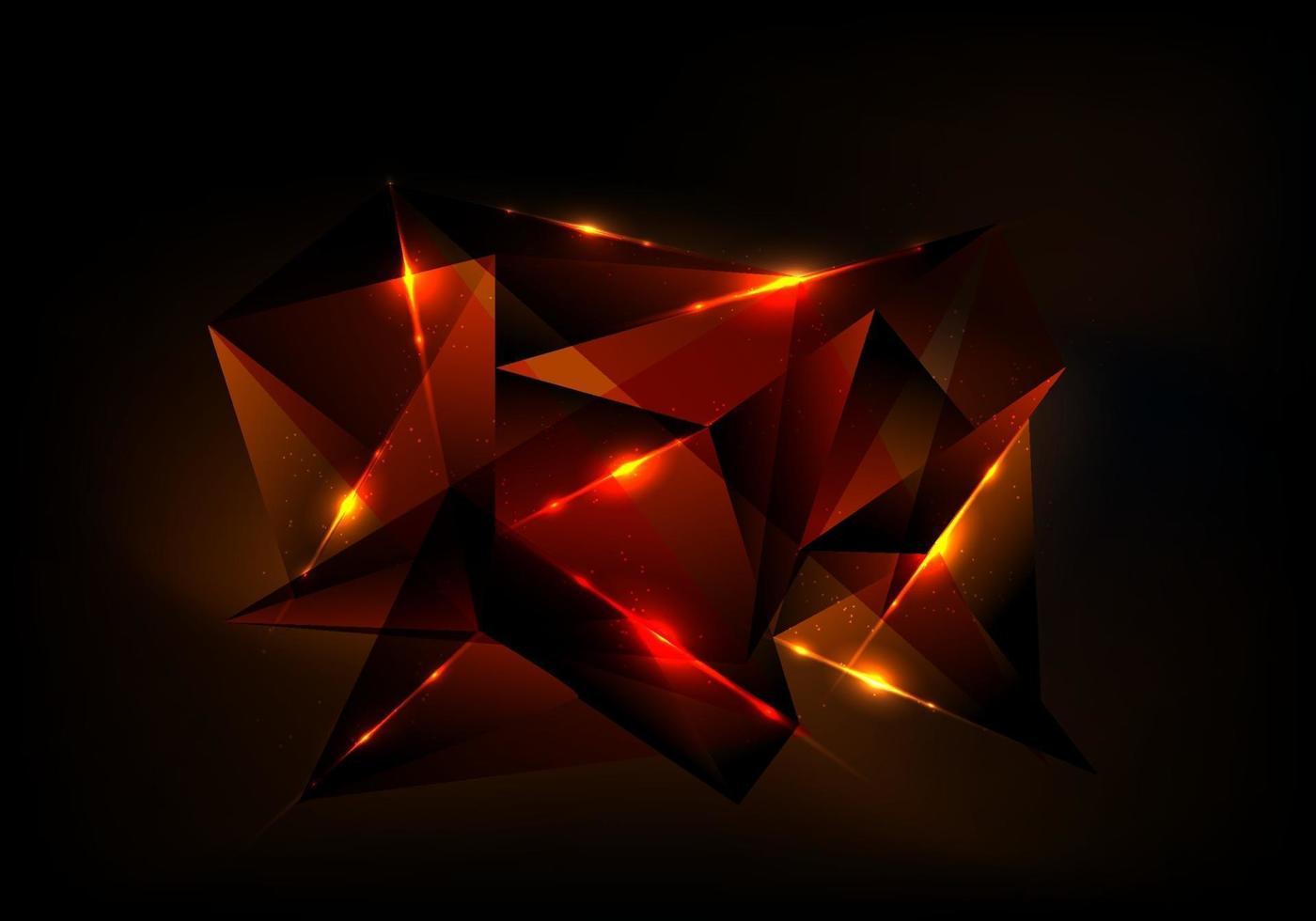 abstract futuristisch technologieconcept met rood veelhoekig patroon en gloedverlichting op donkere achtergrond vector