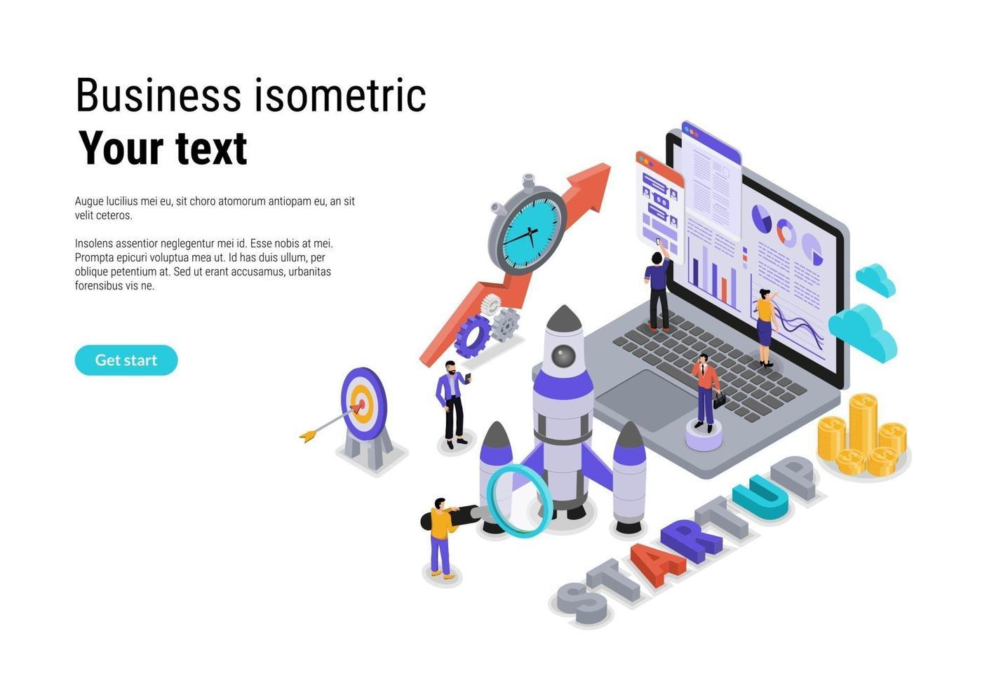 startconcept met karakter voor website-bestemmingspagina en mobiele sjabloon vector