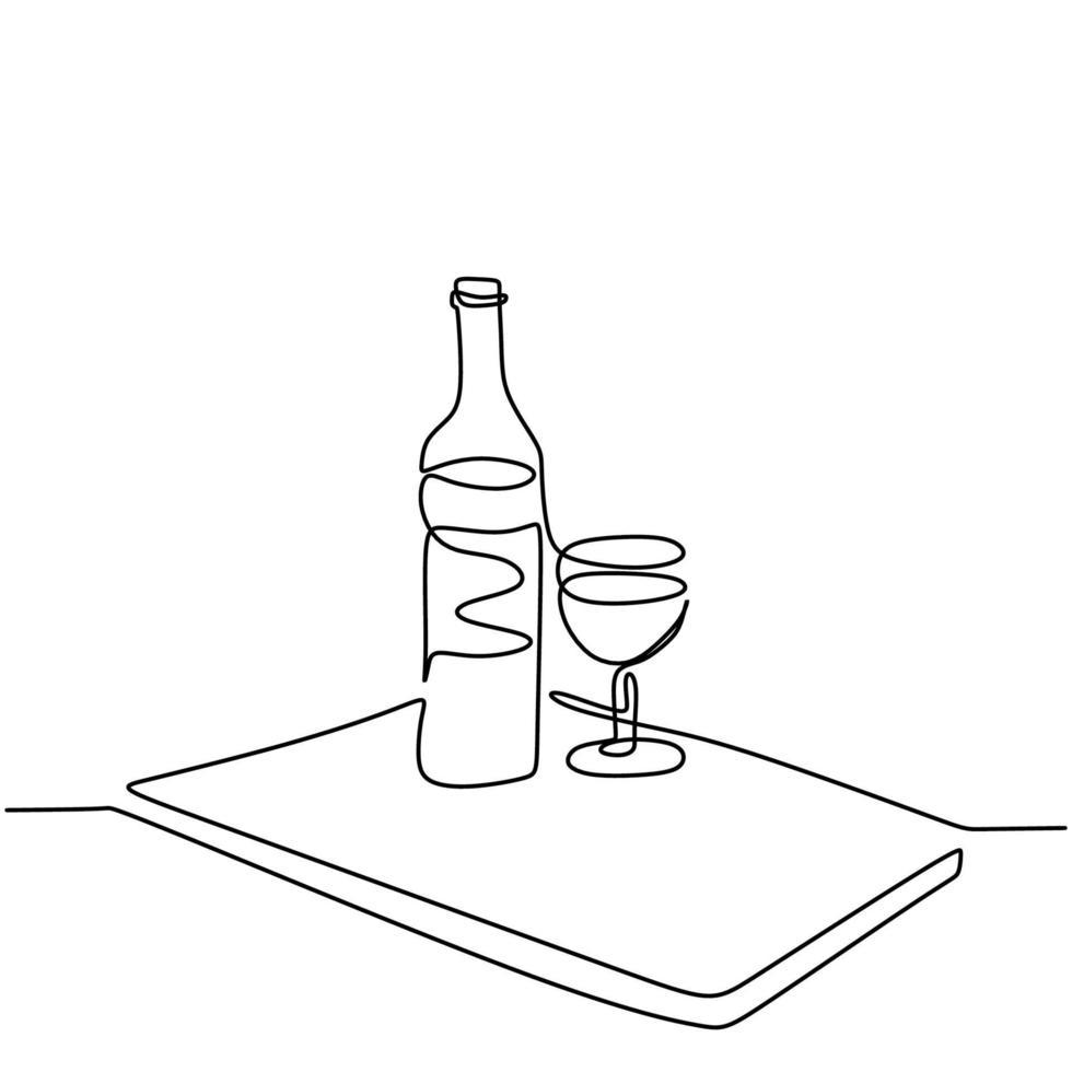 continu een lijntekening van een fles wijn en een glas lineaire schets geïsoleerd op een witte achtergrond. champagnefles met een glas voor feestfeest. minimalistisch ontwerp. vector illustratie
