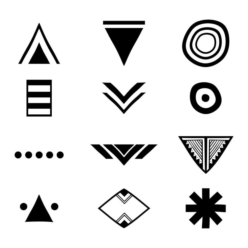 tribale Azteekse symbolen ingesteld. artistieke vector collectie ontwerpelementen op witte achtergrond. religie, filosofie, spiritualiteit, occultisme. vector trendy geometrische pictogrammen en logo's.