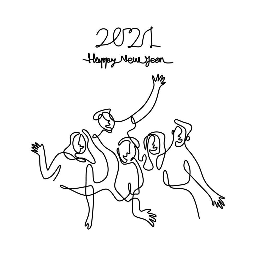 gelukkige mannen en vrouwen verwelkomen het nieuwe jaar doorlopend een lijntekening. man en vrouw in het concept van de nieuwe jaarpartij geïsoleerd op een witte achtergrond. het nieuwe jaar 2021 vieren. vector illustratie