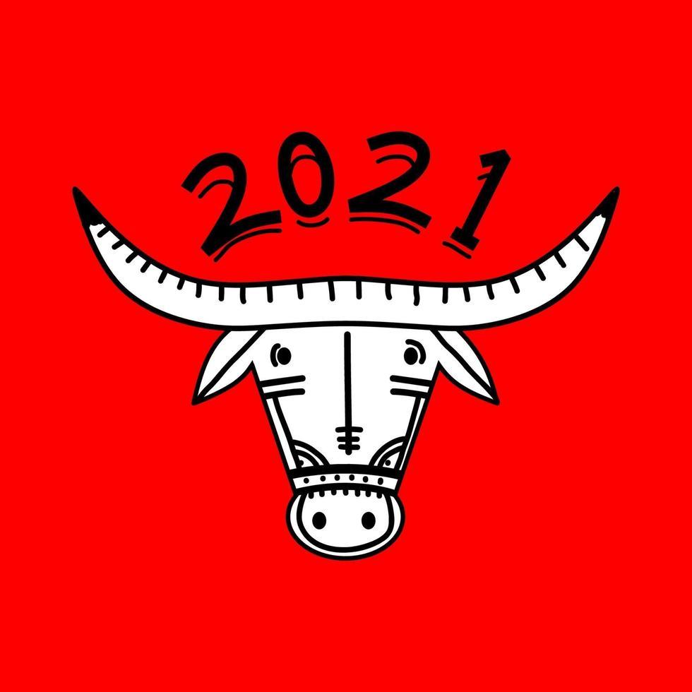 2021 gelukkig nieuwjaar. os, koe, stier hoofden geïsoleerd op rode achtergrond. oostelijke chinese jaar maankalender mascotte. Chinese wenskaart vector briefkaart, spandoek, poster. illustratie voor de kalender