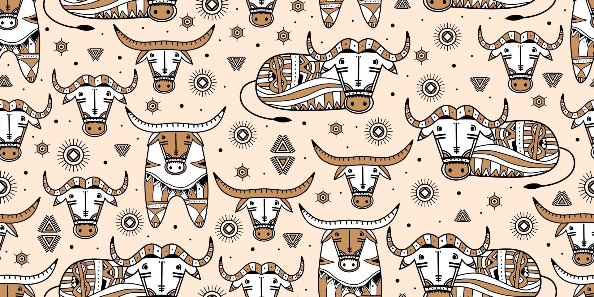 set elementen een vintage tribal buffel. stier logo ontwerp geïsoleerd op een witte achtergrond. Chinees dierenriemsymbool van het nieuwe jaar 2021. vectorillustratie van decoratieve sterrenbeeld stier vector