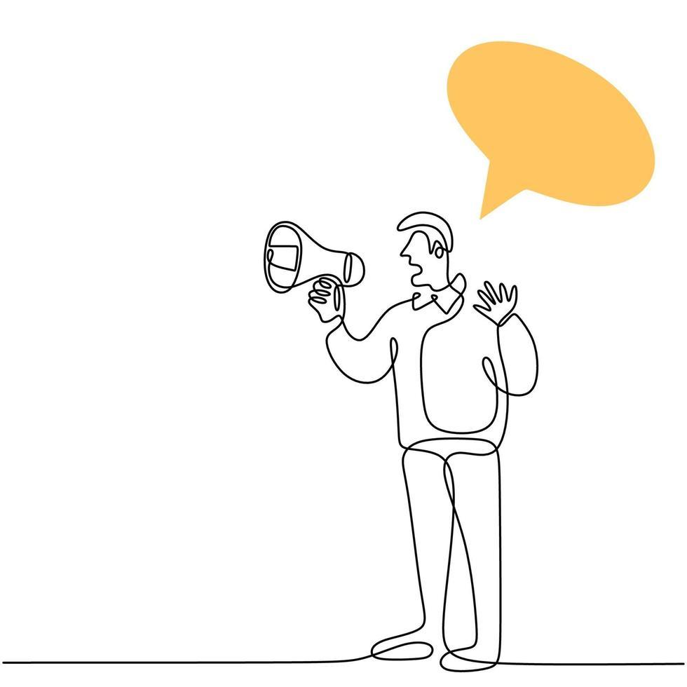 continu een lijn getekend een man met een luidspreker en spreken met lege tekstballon. het concept van aankondiging, waarschuwing, welsprekendheid, luide verklaring, publiciteit. karakter mannetje in spreken in het openbaar vector