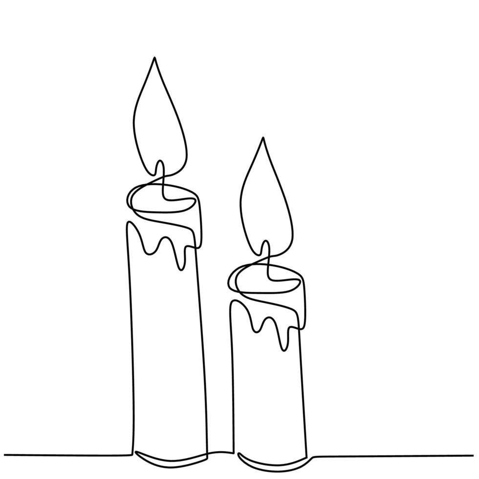 mooie kaarsen continu een lijntekening. twee kaarslicht branden en smelten. met de hand getekend van een paar kaarsen minimalisme ontwerp op witte achtergrond. geïsoleerde vectorillustratie vector