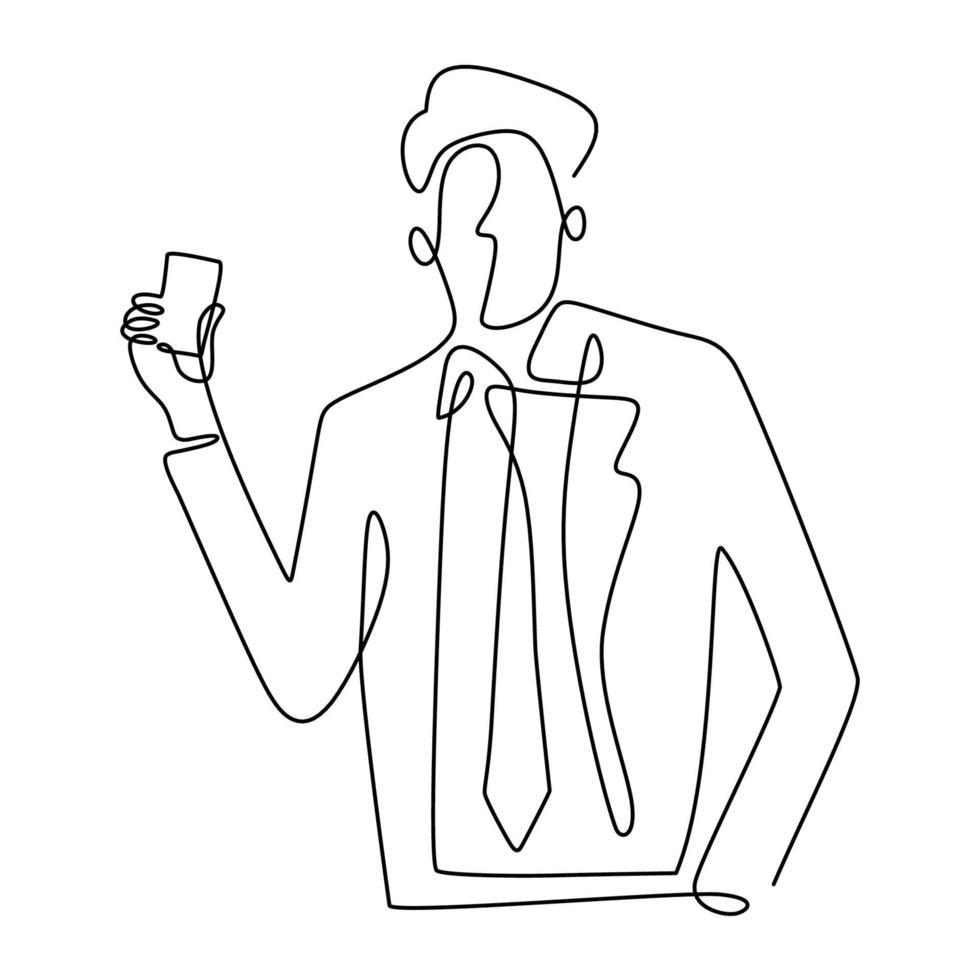 zakenman houdt een visitekaartje of creditcard een doorlopende lijntekening op witte achtergrond. jonge officier man in pak betalen voor zijn boodschappen met een creditcard. aankoop met cashless concept vector