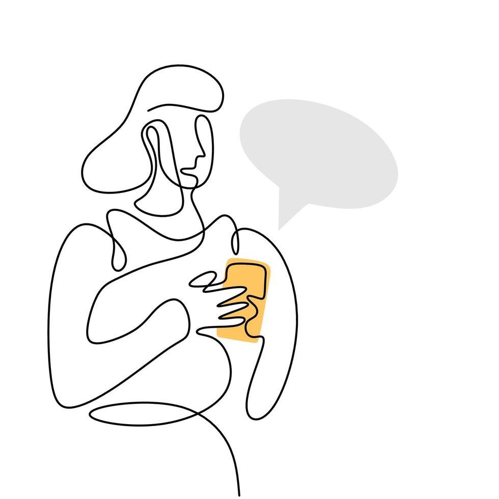 continu een lijntekening van een vrouw met smartphone. mooie vrouw permanent en kijken naar haar telefoon om te chatten met tekstballon geïsoleerd op een witte achtergrond. vector illustratie