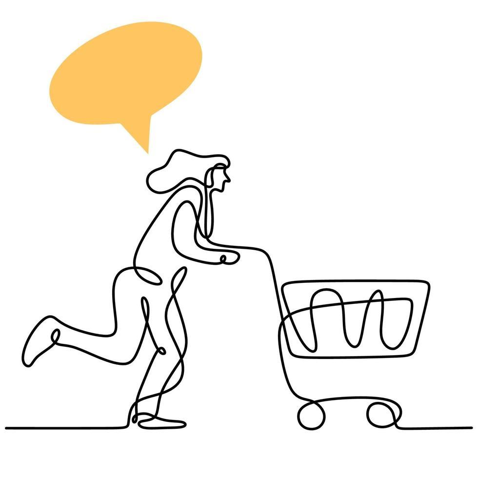 een doorlopende lijntekening gelukkige jonge vrouwen die samen winkelen bij supermarkt en trolley duwen. winkelen op de markt voor dagelijkse behoeften. maandelijkse uitgaven concept. vector ontwerp illustratie