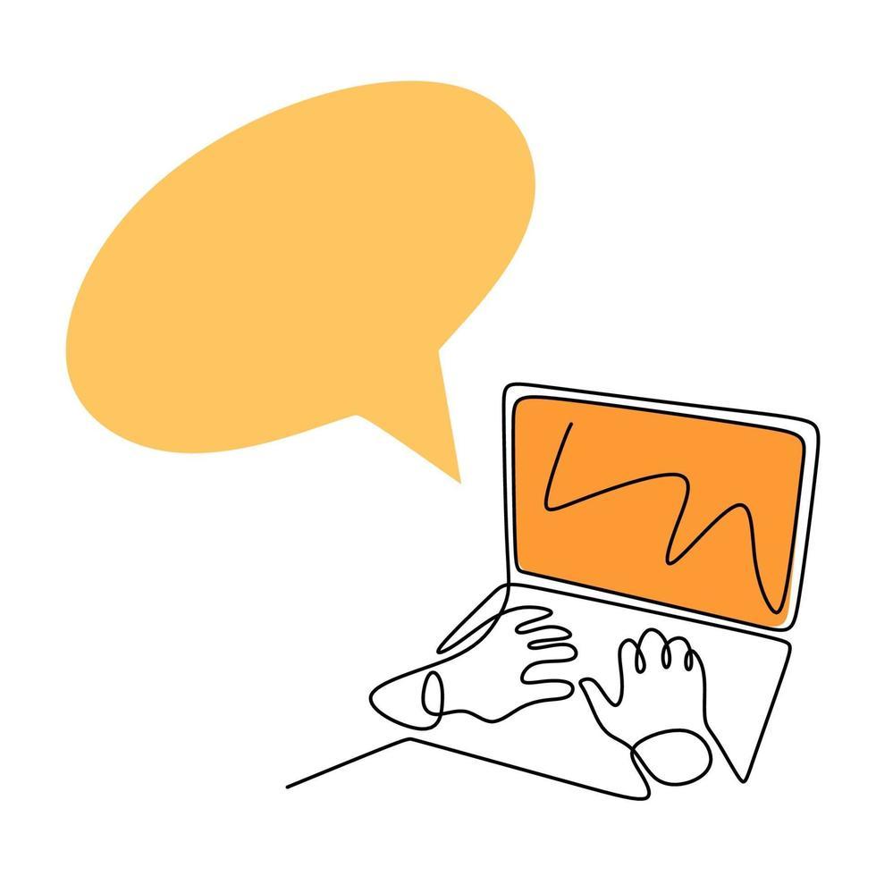 continu een lijntekening van het typen van de hand op het toetsenbord van de laptop. een volk dat een computer gebruikt om multimedia-inhoud online met vrienden te delen. bedrijfs- en technologieconcepten. vector illustratie