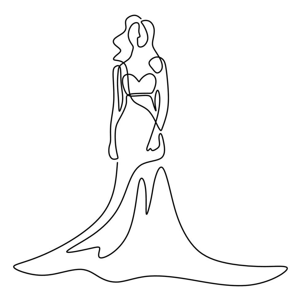 schoonheid vrouw model draagt sexy jurk. een doorlopende lijntekening vrouw in elegante jurk staande pose en ziet er zo mooi uit geïsoleerd op een witte achtergrond. vrouwelijke mode jurk concept vector