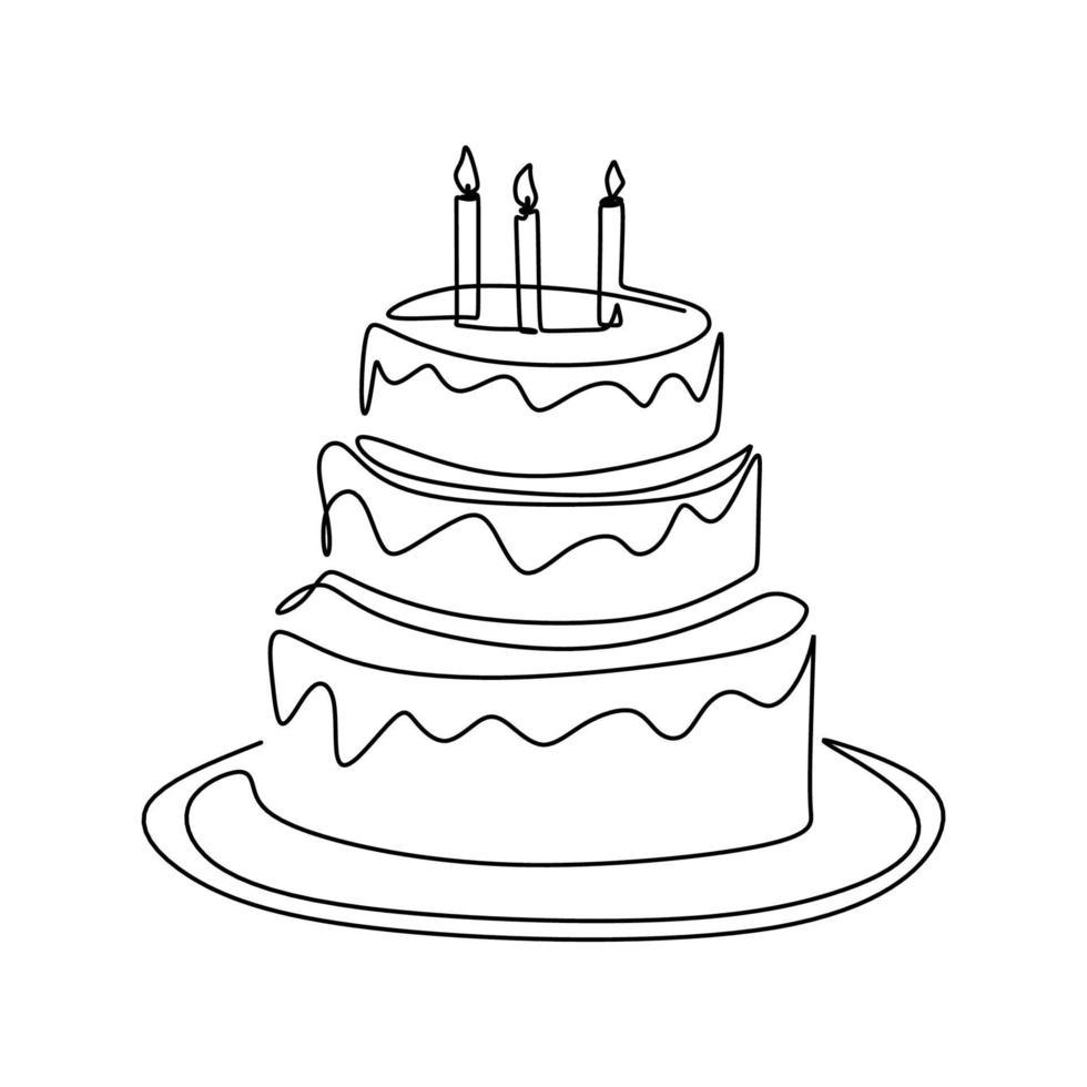 doorlopende lijntekening van verjaardagstaart met kaars. een cake met room en kaarsen. verjaardagsfeestje viering concept. gelukkig moment op witte achtergrond vector illustratie minimalisme.