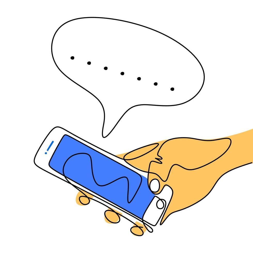 continu een lijntekening van een menselijke handen met smartphone. een hand touchscreen telefoon en chatten met lege tekstballon geïsoleerd op een witte achtergrond. minimalisme ontwerp. vector illustratie