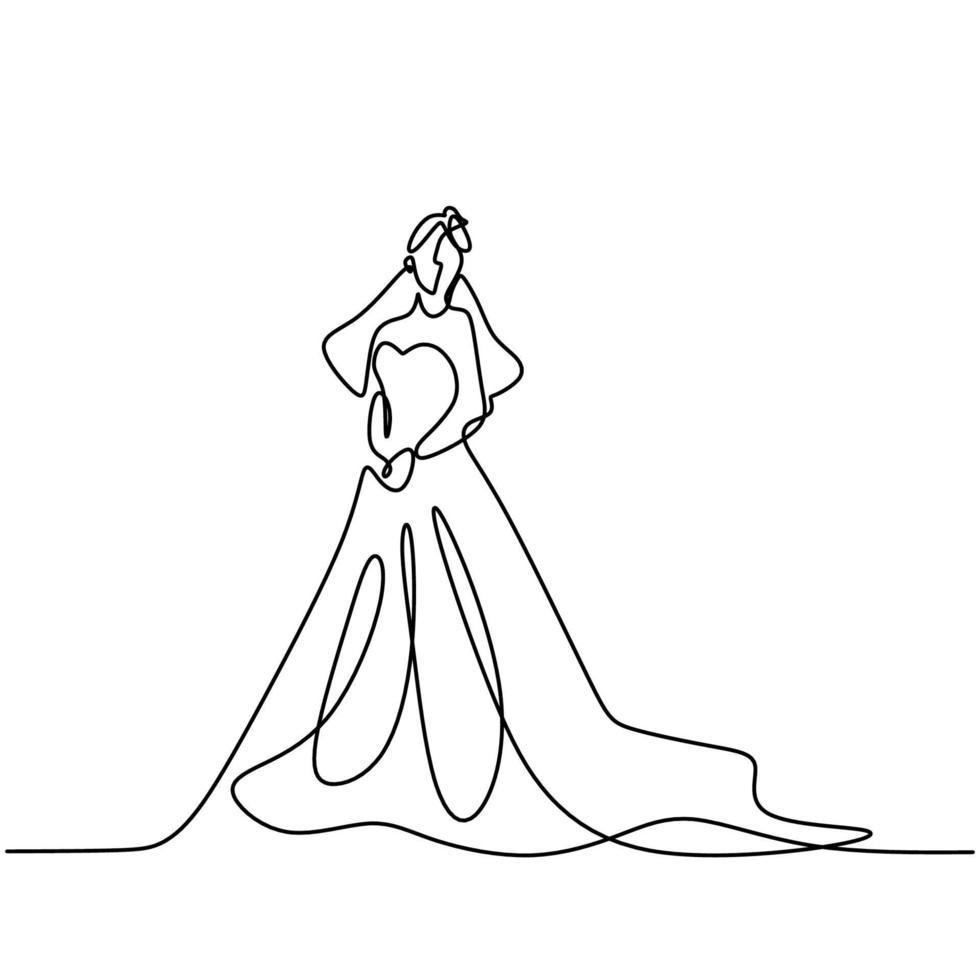 continu een lijntekening van vrouw met jurk. schoonheid vrouwelijk model draagt jurk en ziet er zo elegant uit terwijl je poseert. meisje mode concept lijntekeningen minimaal ontwerp geïsoleerd op een witte achtergrond vector