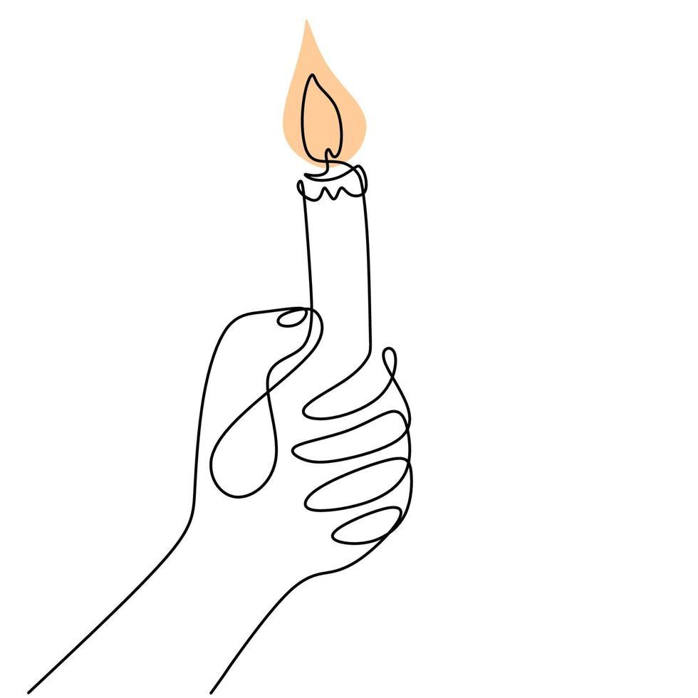 continu een lijntekening van een hand met brandende kaars. menselijke handen met een geheugenkaars. smeltende kaars in de linkerhand. vector minimalisme ontwerp geïsoleerd op een witte achtergrond