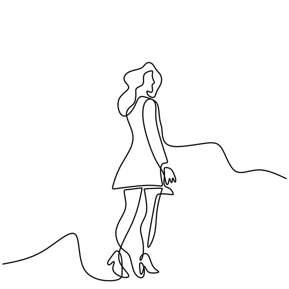 continu een lijntekening van juichende vrouw in korte jurk. gelukkig jong meisje met lang haar staande pose en schattige kleding dragen. karakter modieus vrouwtje. vector minimalisme ontwerp