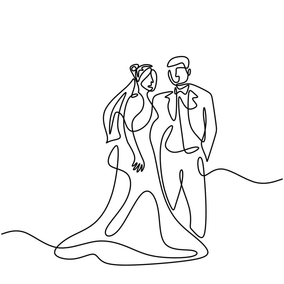 een doorlopend huwelijk met een getekende lijn. karakters van de bruid en bruidegom van de man en vrouw zijn getrouwd geïsoleerd op een witte achtergrond. bruid, bruidegom, paar, liefde, viering, romantisch concept vector
