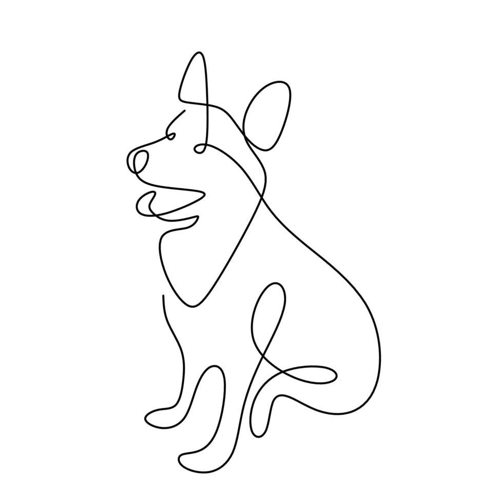 hondenhond hand ononderbroken lijn tekenen op witte achtergrond. een schattige hond zit op de grond een enkele lijn in minimalistische stijl. dieren in het wild dieren concept. vector huisdier ontwerp illustratie