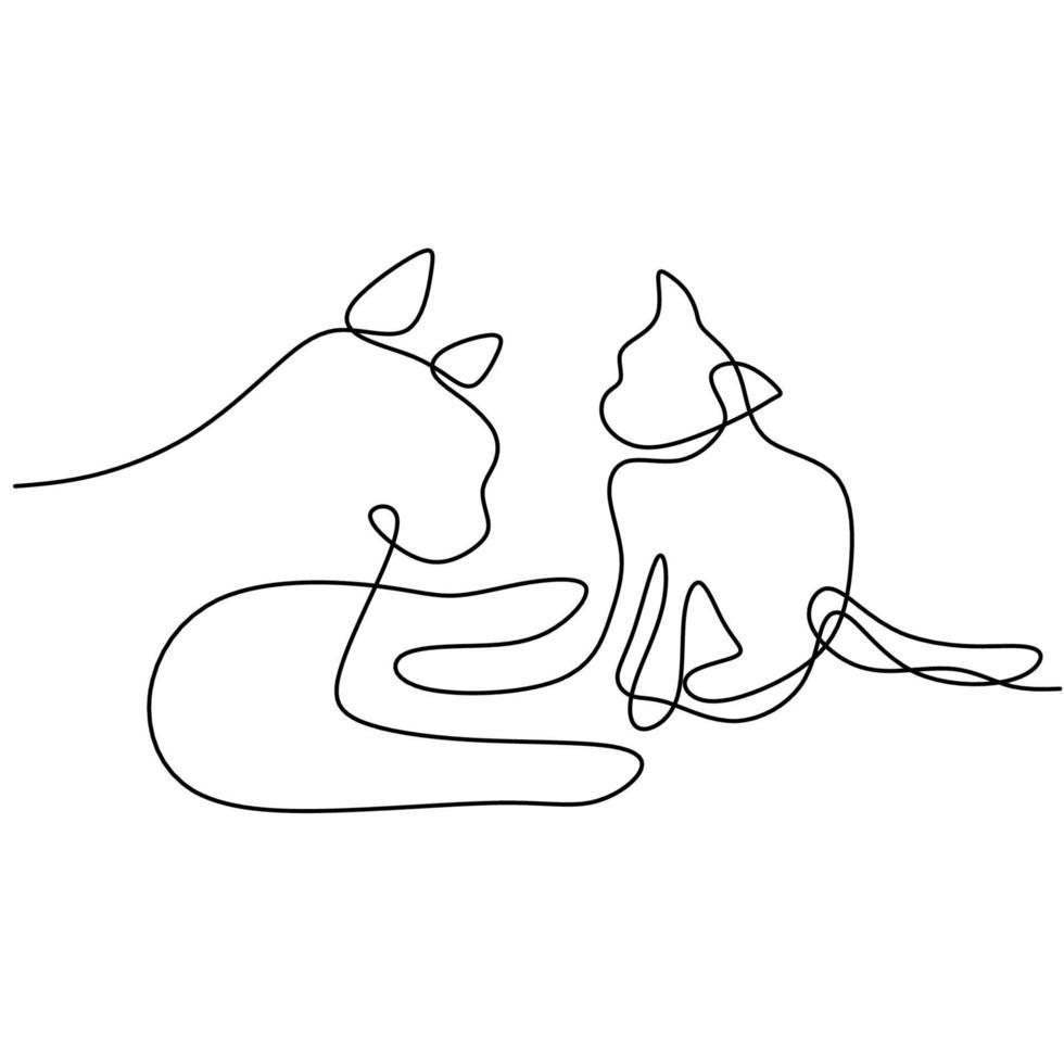 doorlopende lijntekening van minimalistische stijl met twee honden. rasechte hond mascotte concept voor stamboom vriendelijk huisdier pictogram. het concept van dieren in het wild, huisdieren, veterinair. vector illustratie