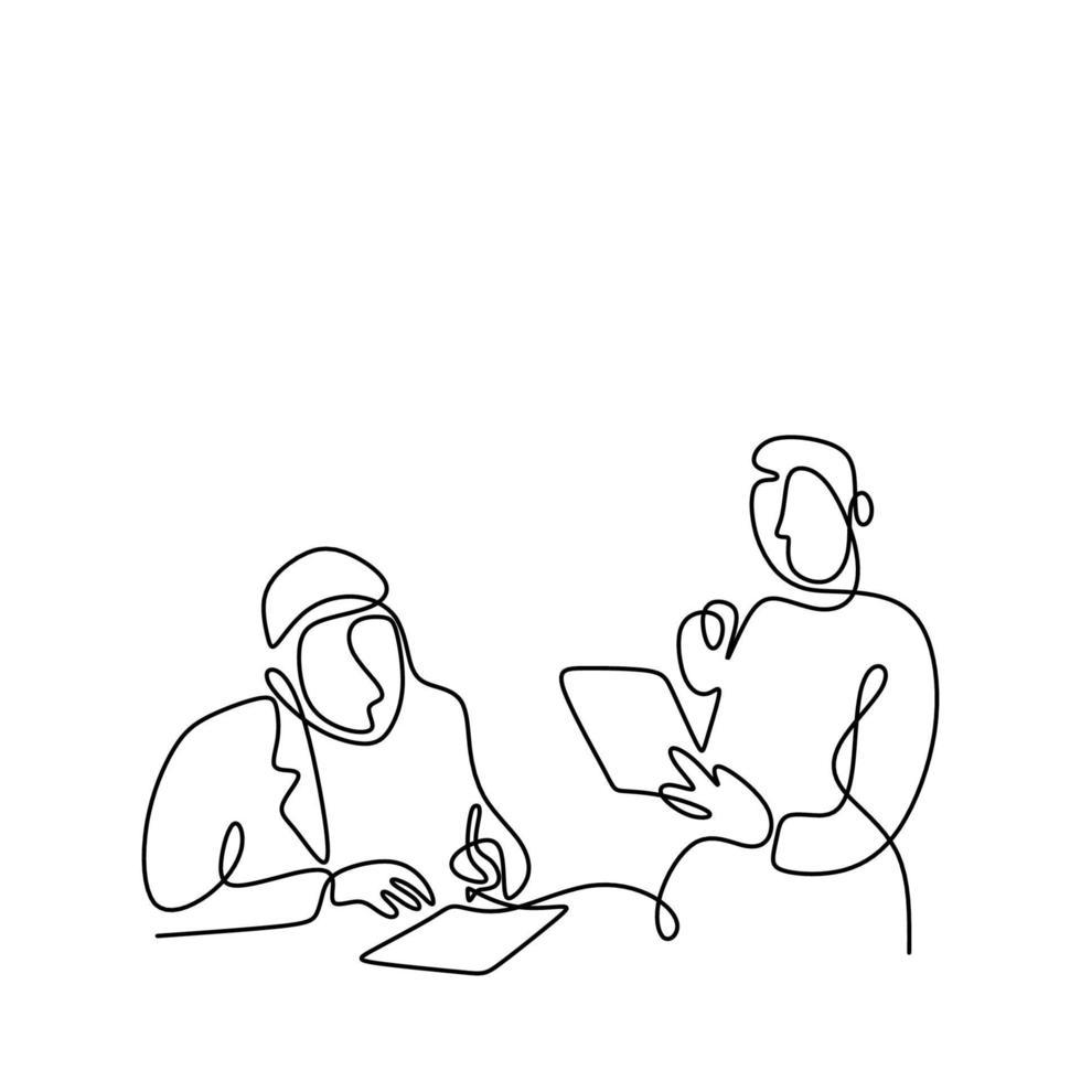 een lijntekening van jonge dokter praten met verpleegster in lege tekstballon. de arts die diagnostiek bespreekt. personage in het minimalistische ontwerp van de medische officier op een witte achtergrond. vector illustratie