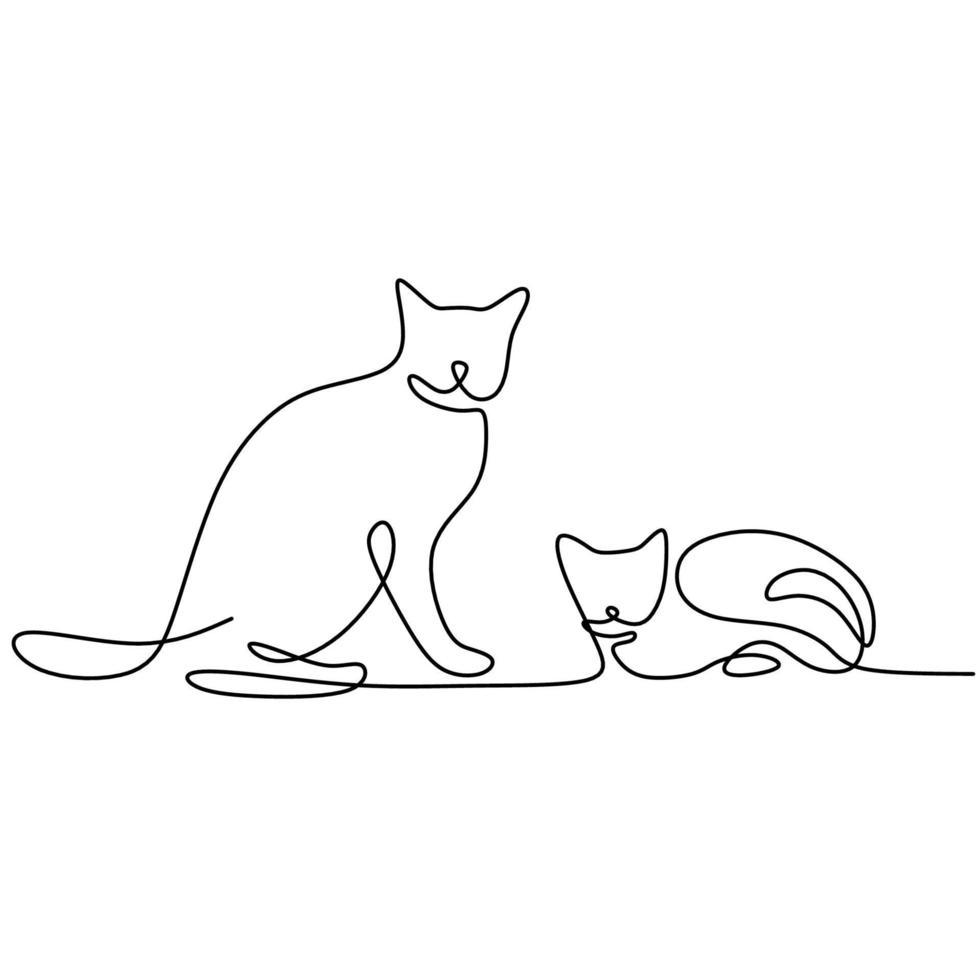 doorlopende lijntekening van twee katten in minimalistische stijl. schattige kat dieren mascotte concept voor stamboom vriendelijk huisdier pictogram. het concept van vriendelijk, huisdieren, veterinair. vector illustratie