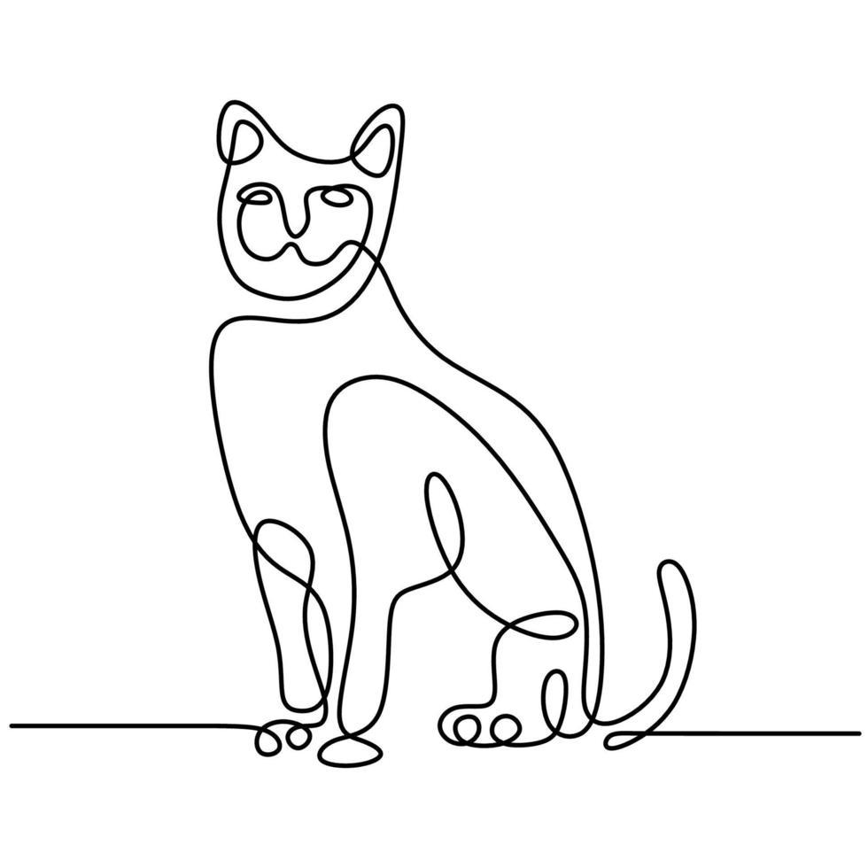 minimalistische katten in abstracte handgetekende stijl. een lijntekening van schattige kattendieren geïsoleerd op een witte achtergrond. hou van huisdier concept. vector illustratie. doodle dieren pictogrammen minimalistische lijntekeningen.