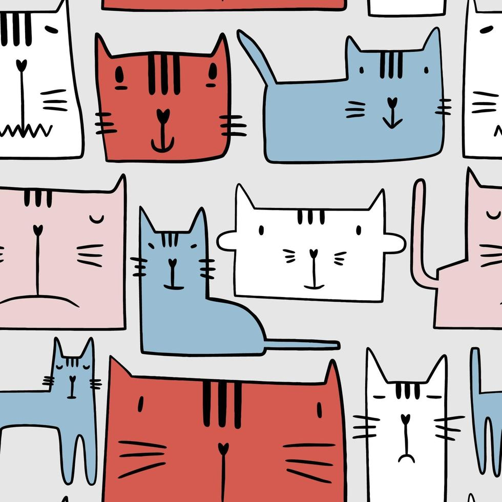 naadloze patroon met schattige kleurrijke kittens. creatieve kinderachtige textuur geïsoleerd op een grijze achtergrond. hand getekend kinderen achtergrond voor textiel, mode, inpakpapier, grafische tees. vector illustratie